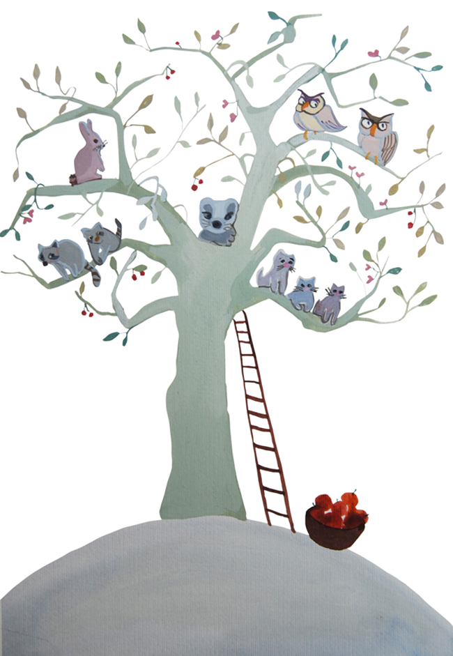 copac cu animale-tree with pets